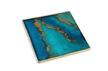 Picture of Hot Pad in teal blue & gold (19x19cm)