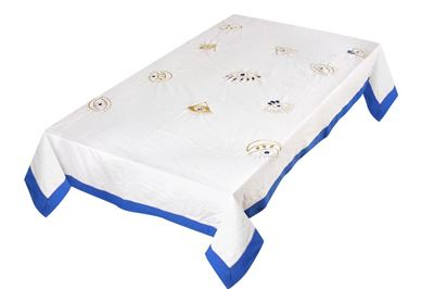Picture of Table cloth with gold embroidered eyes (2.5m x 140)