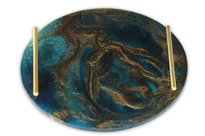 Picture of Round serving tray in teal blue with a touch of copper and gold handles (40cm)