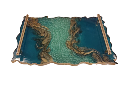 Picture of Rectangular serving tray in teal blue & copper with gold handles (Size 37x26cm)