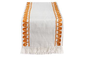 Picture of Crescent & star embroidered in orange table runner