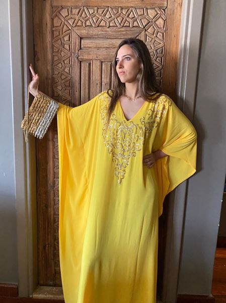 Picture of Yellow Abaya with gold beads