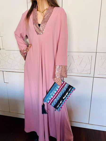 Picture of Pink Abaya embellished with shiny sequins