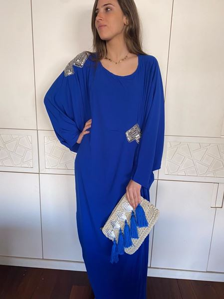 Picture of Electric blue abaya embellished with silver sequins