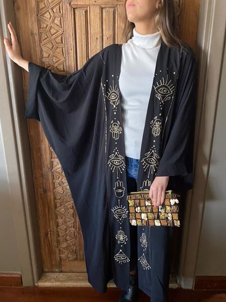 Picture of Black kaftan with gold embroidered Eye & KAF