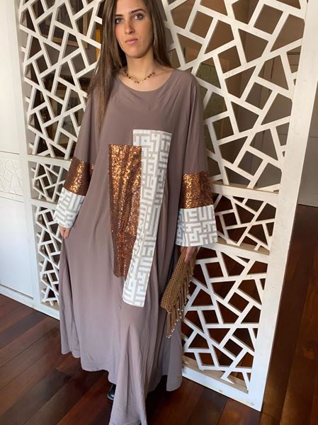 Picture of Café Abaya with Arabic calligraphy & bronze sequins