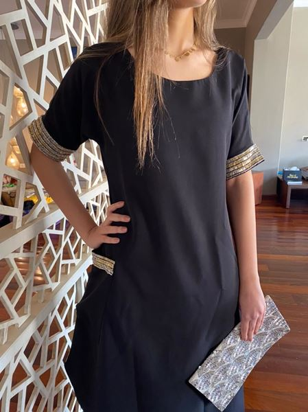 Picture of Black dress embellished with hand embroidered beads