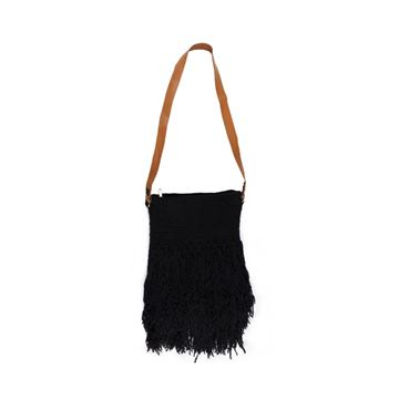 Picture of Black Cotton Cross bag with fringes . L 40 * W 30