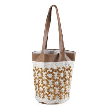 Picture of Tote bag with beaded flowers. L 40 * w 38 cm