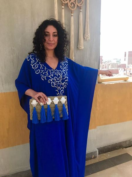 Picture of Blue Abaya with silver beads