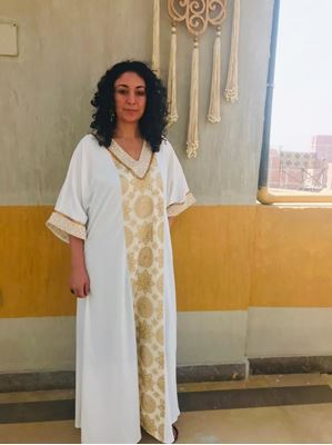 Picture of Off white Islamic pattern Abaya with gold beads on sleeves & neckline