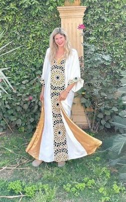 Picture of White galabeya with Islamic design & gold sequins