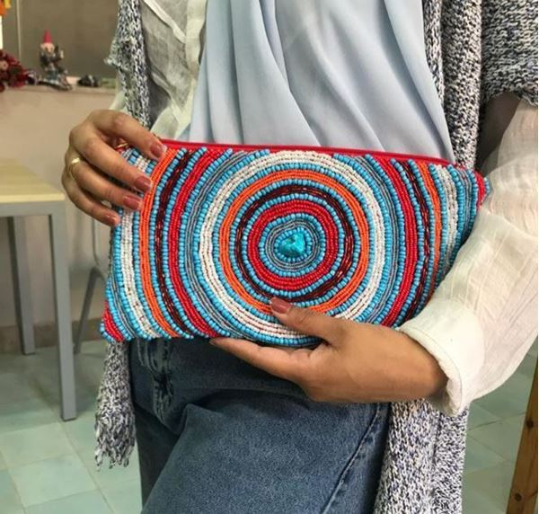 Picture of Infinity clutch with beads & stones L 16 * W 28 cm