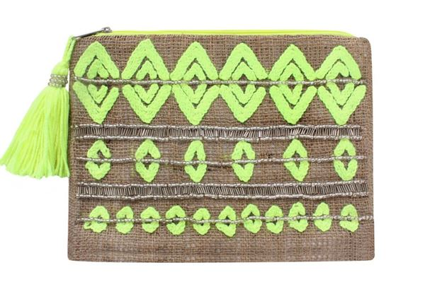 Picture of Embroidered geometric patterns appliqué clutch in yellow Size 28*22 cm