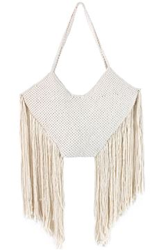 Picture of Makrameya bag with long tassels in off white. L 30 * W 55