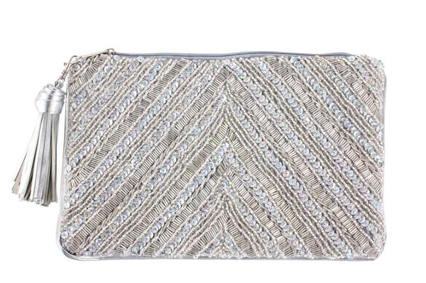 Picture of Hand beaded silver clutch. L 21 * W 31